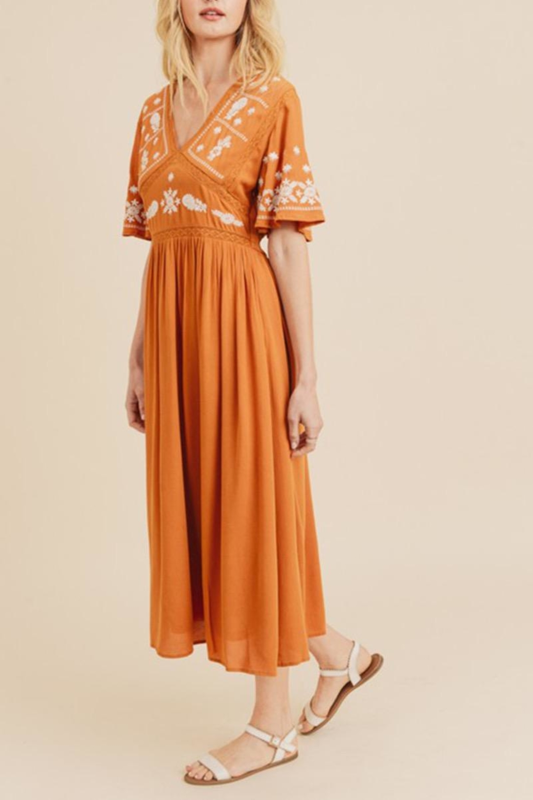 In Loom Embroidered Midi Dress - Main Image