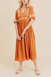 In Loom Embroidered Midi Dress - Front full body