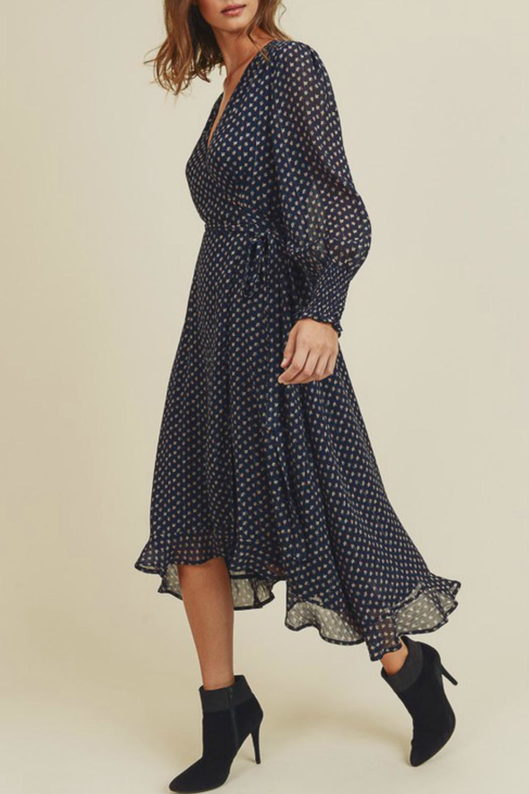 In Loom Floral Wrap Dress - Side Cropped Image