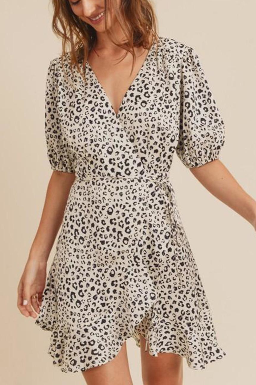 In Loom Leopard-Print Wrap Dress - Front Full Image