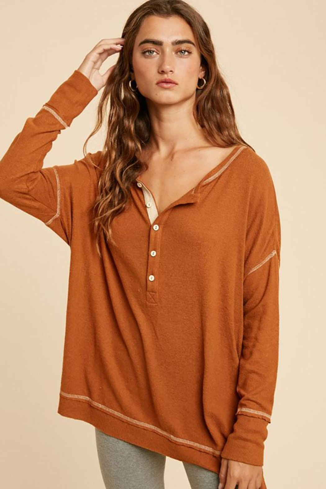 In Loom Long Sleeve Unique Contrast Tape Henley Tunic Top - Main Image