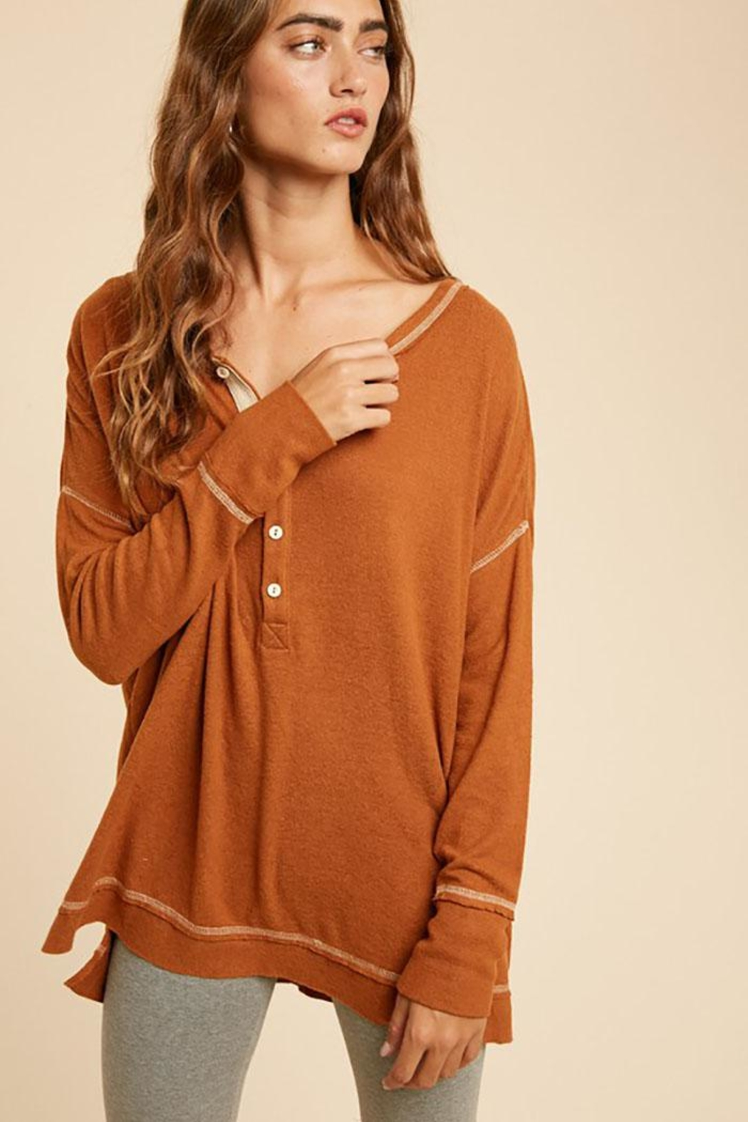 In Loom Long Sleeve Unique Contrast Tape Henley Tunic Top - Front Full Image