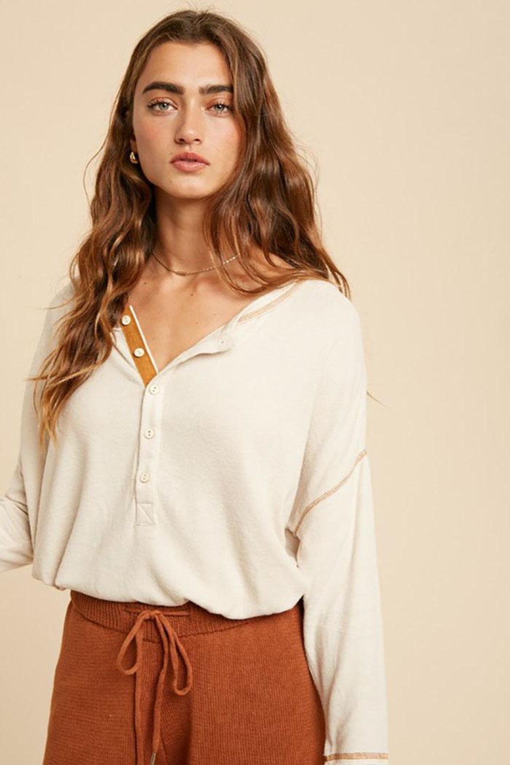 In Loom Long Sleeve Unique Contrast Tape Henley Tunic Top - Front Cropped Image
