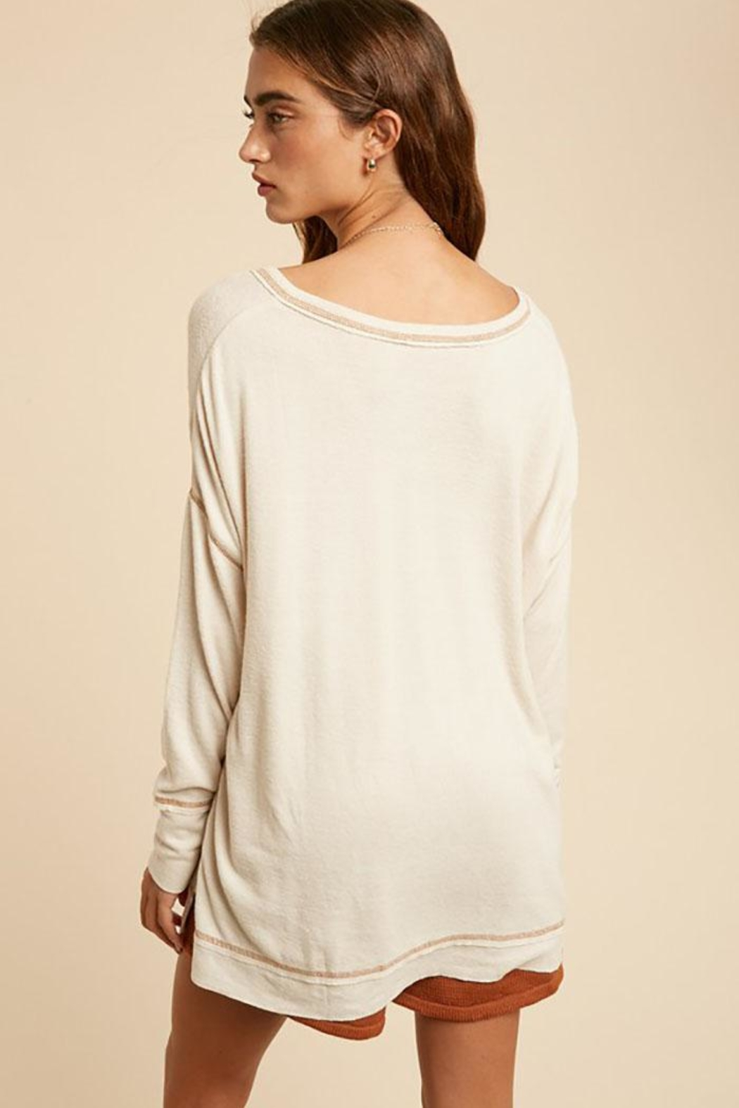 In Loom Long Sleeve Unique Contrast Tape Henley Tunic Top - Back Cropped Image
