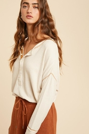 In Loom Long Sleeve Unique Contrast Tape Henley Tunic Top - Side cropped