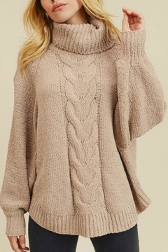 In Loom Matte Cable-Knit Turtleneck - Product List Image