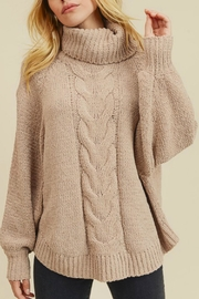 In Loom Matte Cable-Knit Turtleneck - Front cropped