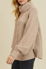 In Loom Matte Cable-Knit Turtleneck - Front full body
