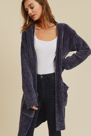 In Loom Purple Chenile Cardigan - Front cropped
