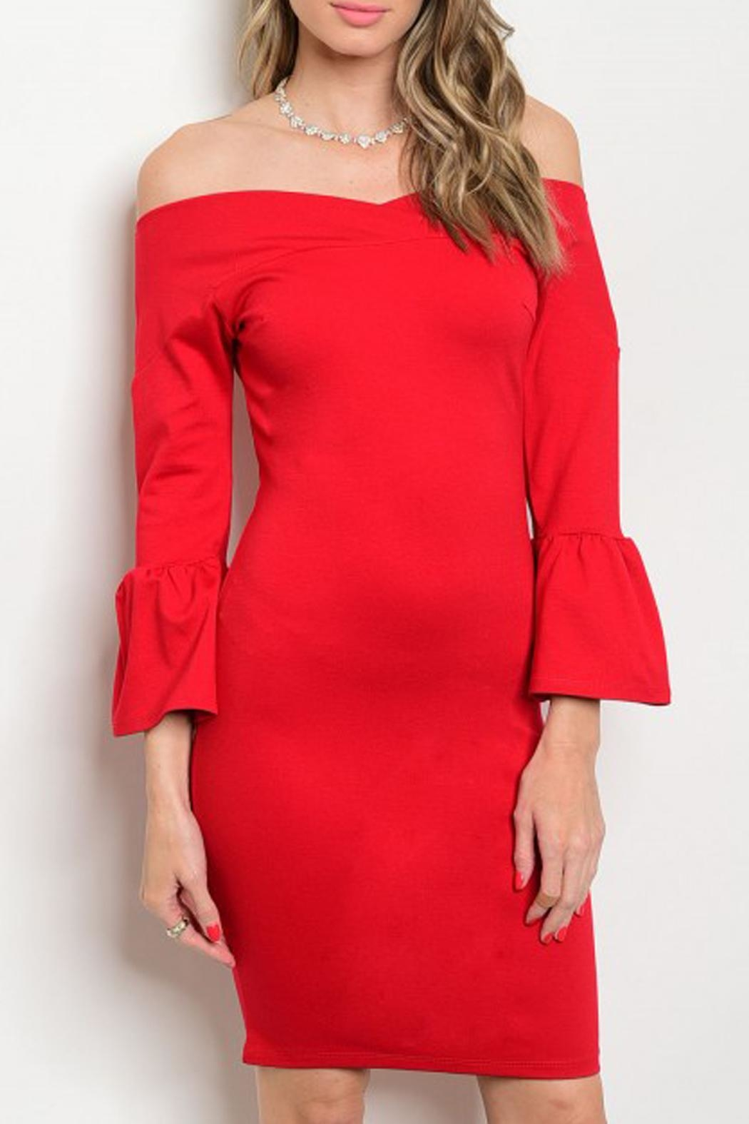 In Style Bell-Sleeve Red Dress - Main Image