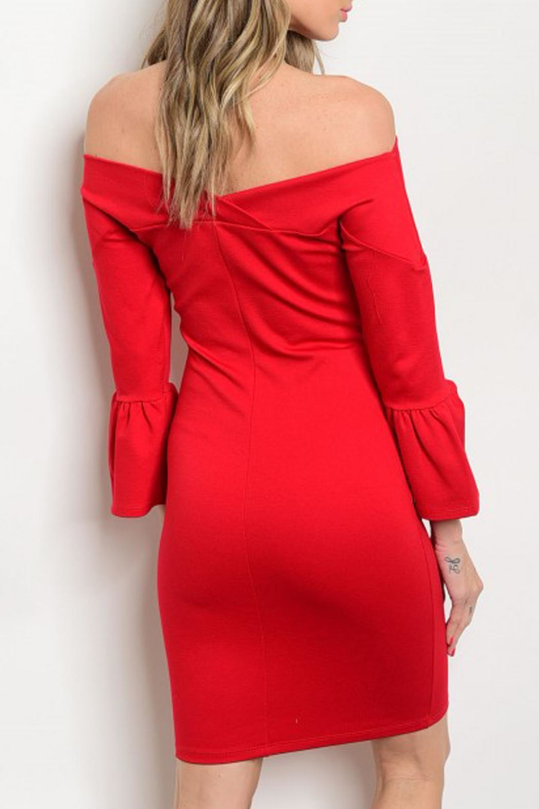 In Style Bell-Sleeve Red Dress - Front Full Image