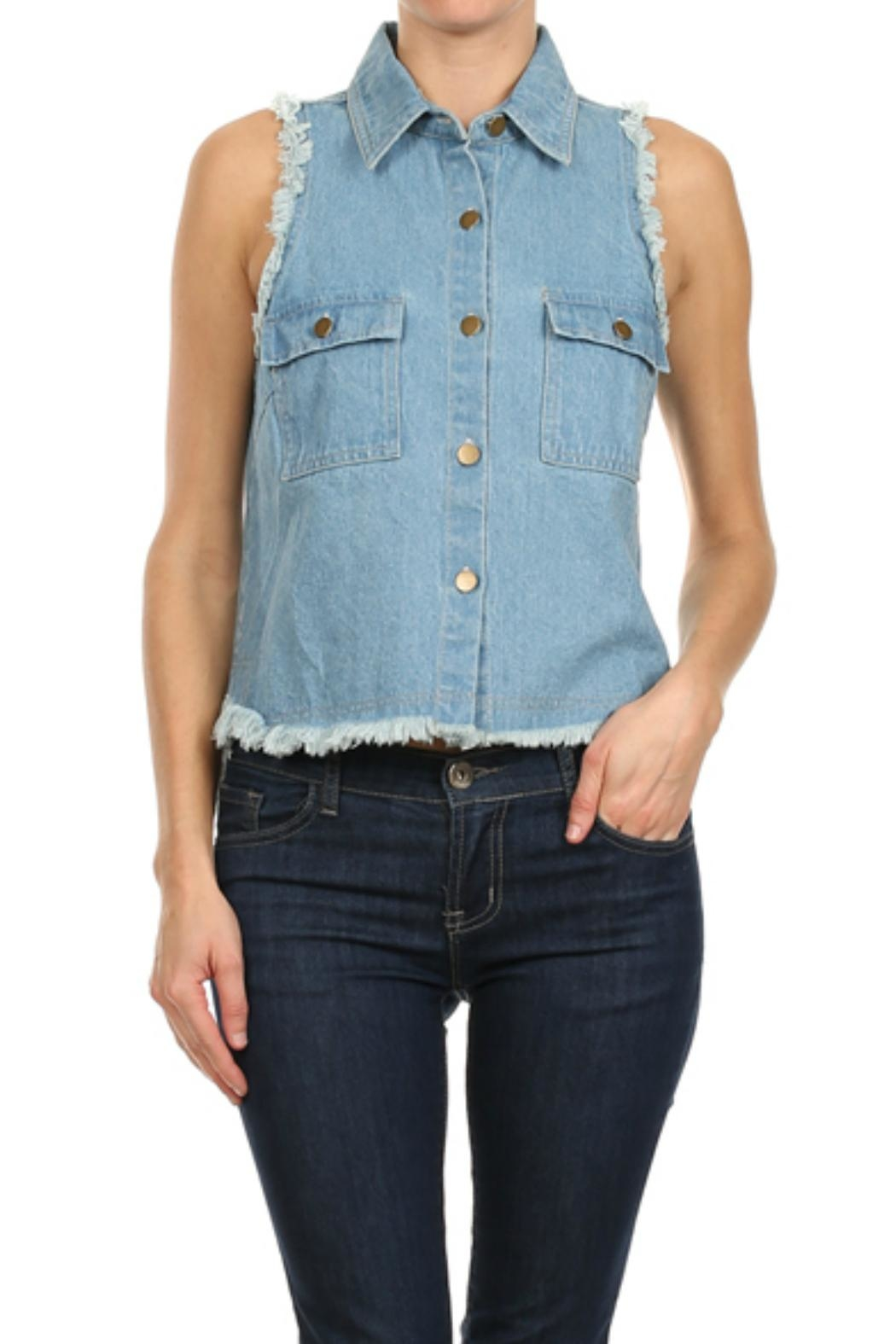 In Style Denim Frayed Vest - Front Cropped Image