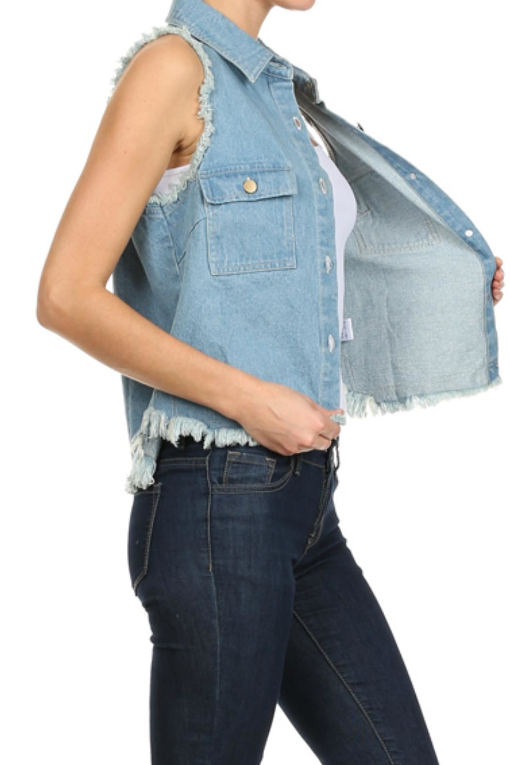 In Style Denim Frayed Vest - Side Cropped Image