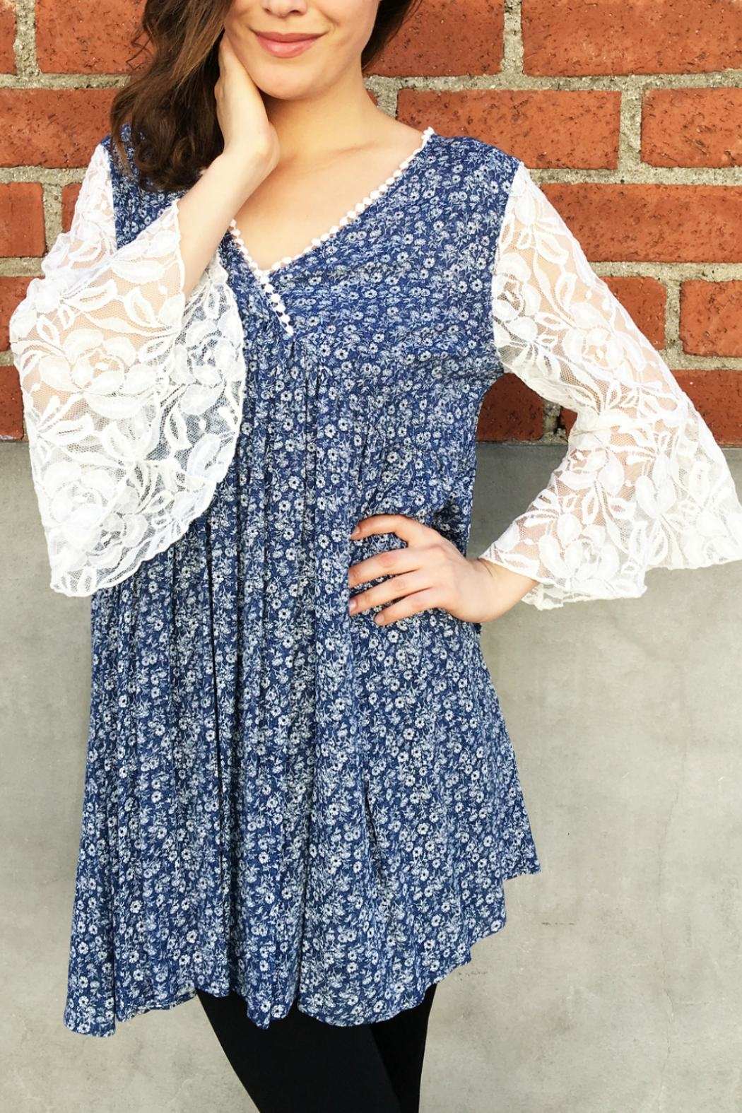 In Style Lace Denim Tunic - Front Full Image