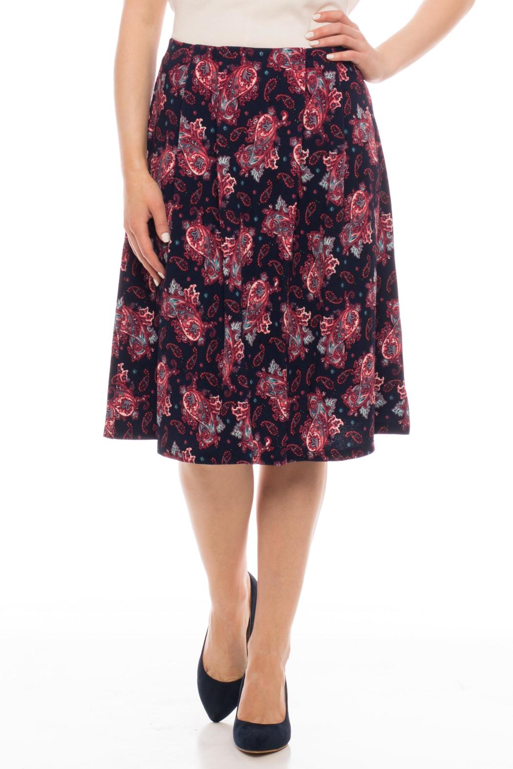 in style navy paisley pleated skirt from kansas by