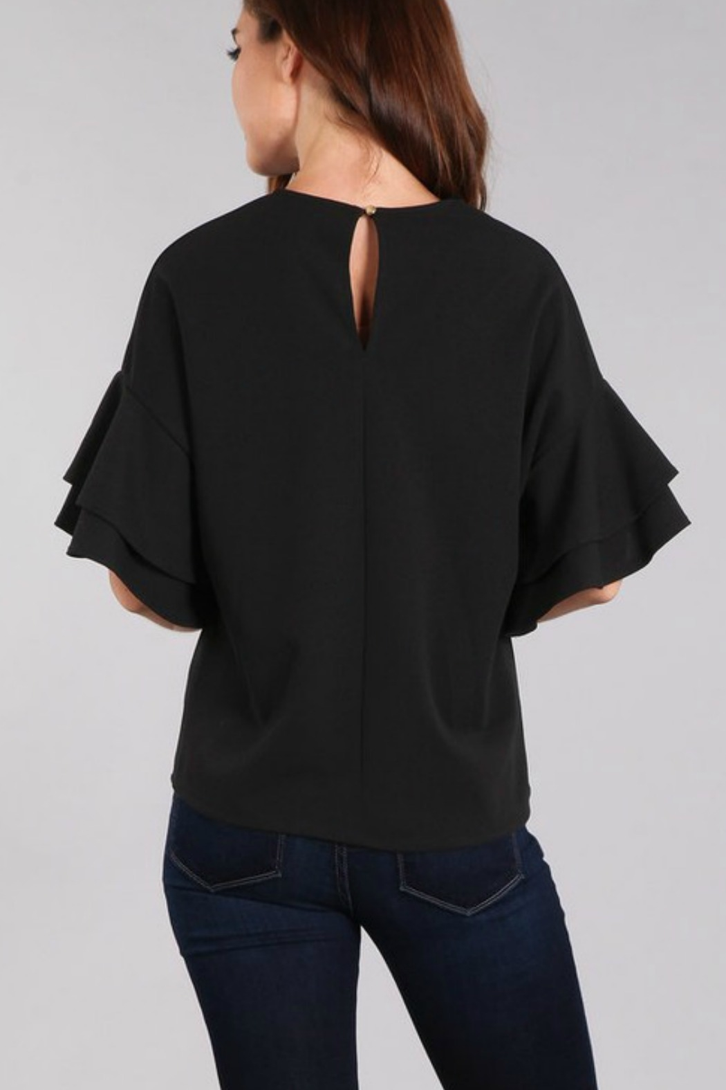 In Style Tiered Ruffle Sleeve Top - Back Cropped Image