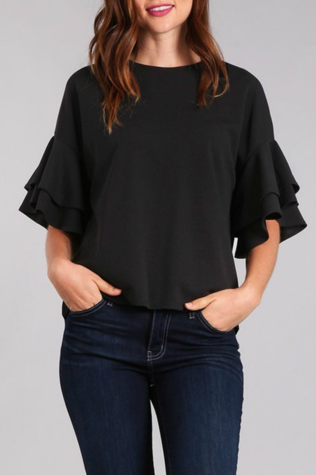 In Style Tiered Ruffle Sleeve Top - Main Image