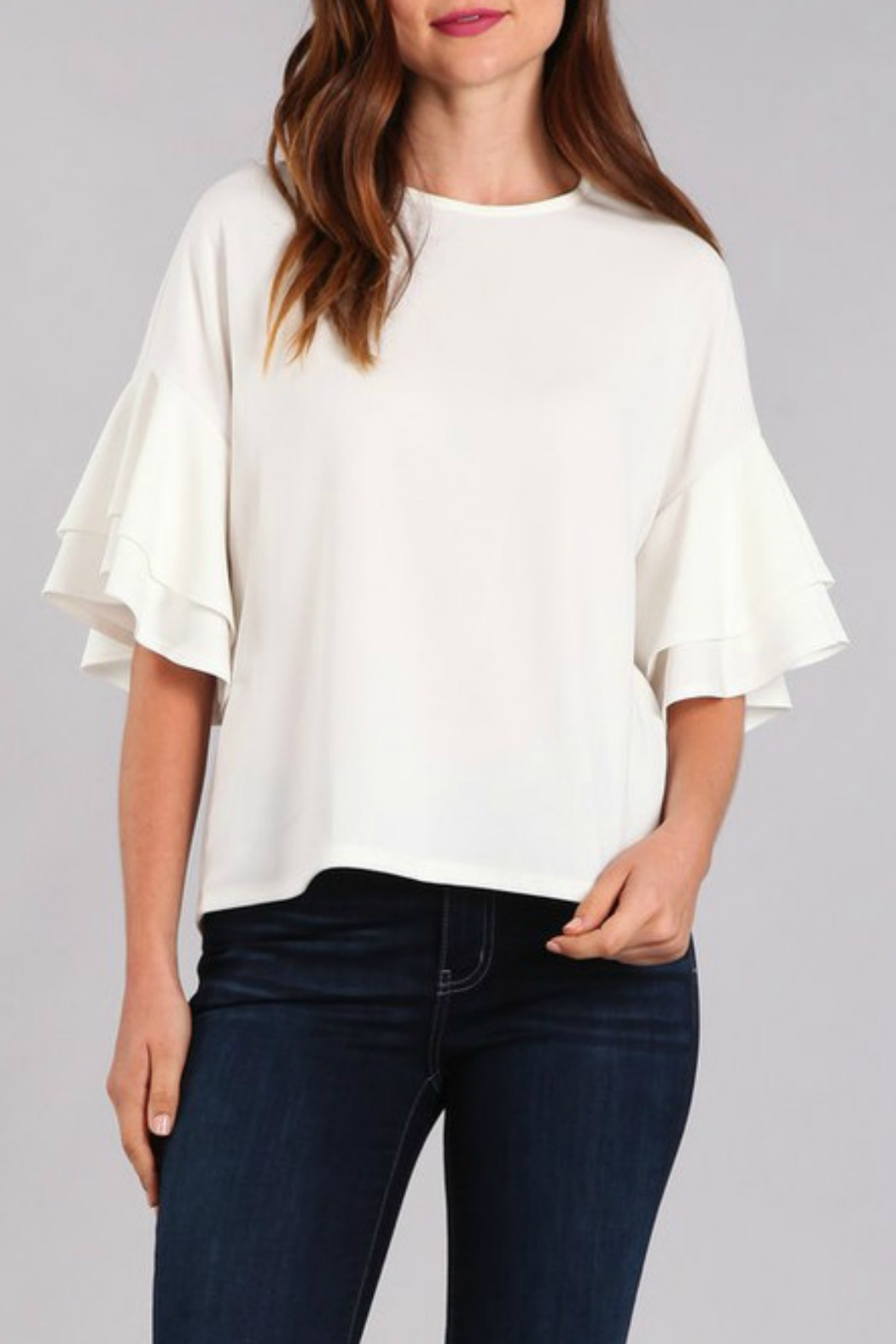 In Style Tiered Ruffle Sleeve Top - Front Cropped Image