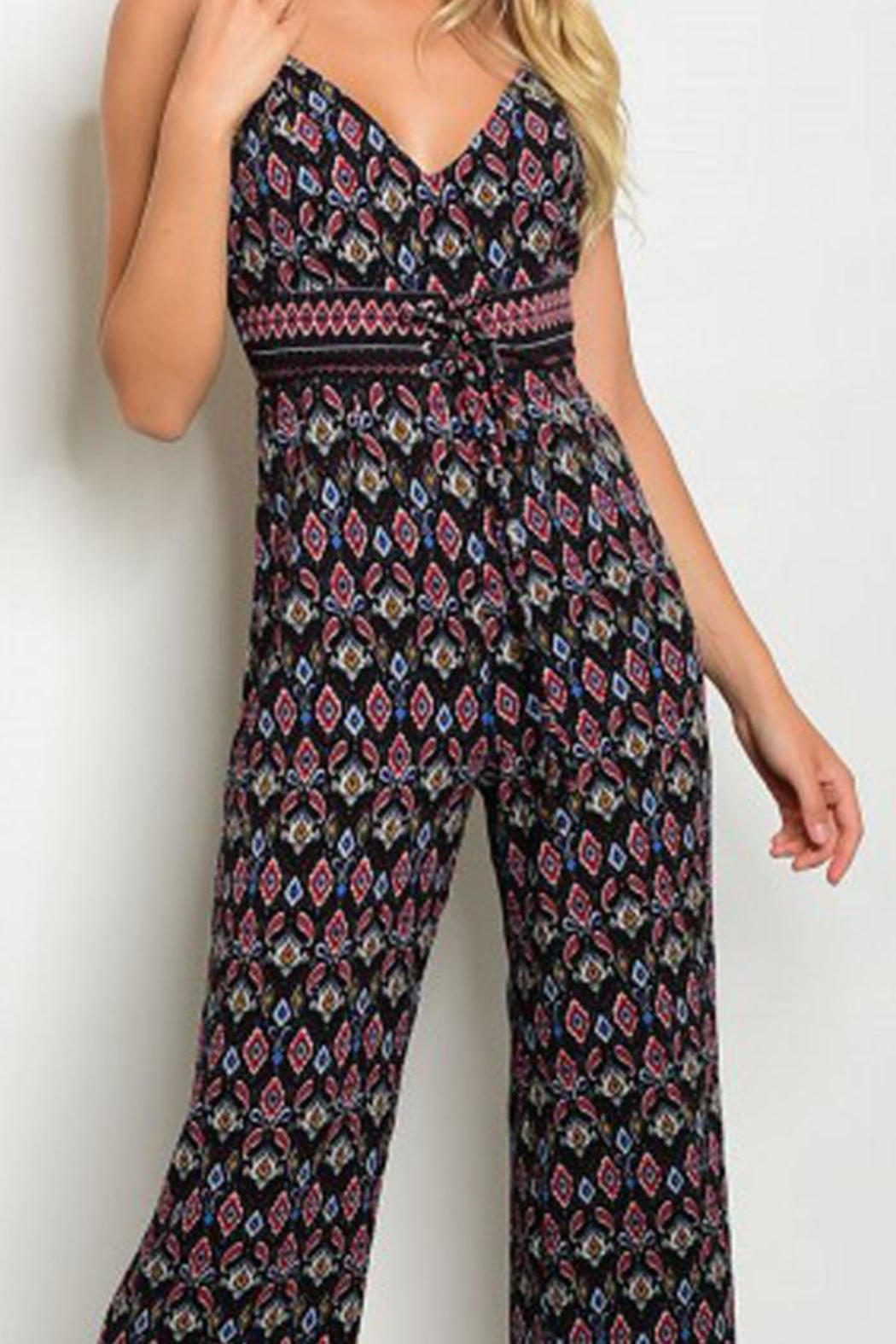 in the Beginning Black Paisley Jumpsuit - Side Cropped Image