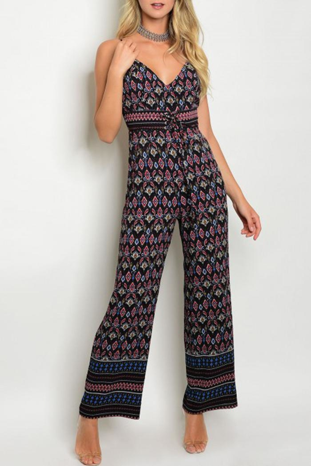 in the Beginning Black Paisley Jumpsuit - Main Image