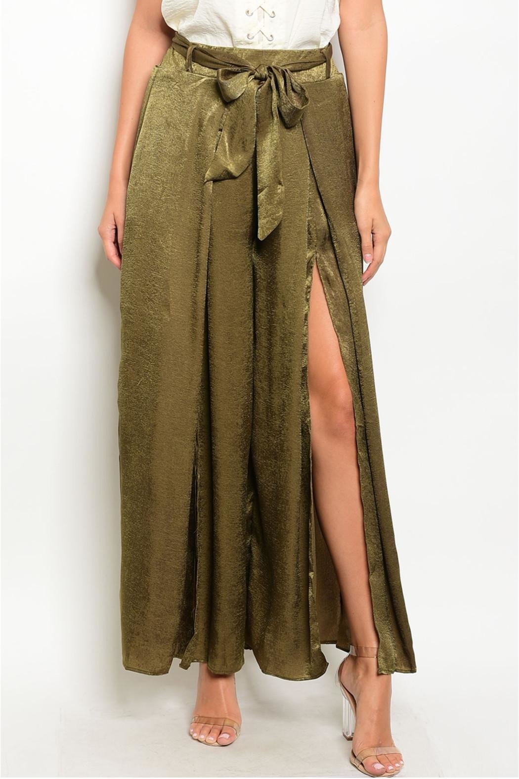 in the Beginning Olive Satin Palazzo Pants - Front Full Image
