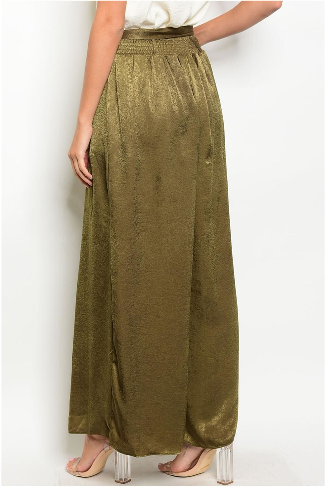 in the Beginning Olive Satin Palazzo Pants - Side Cropped Image