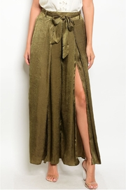 in the Beginning Olive Satin Palazzo Pants - Front full body