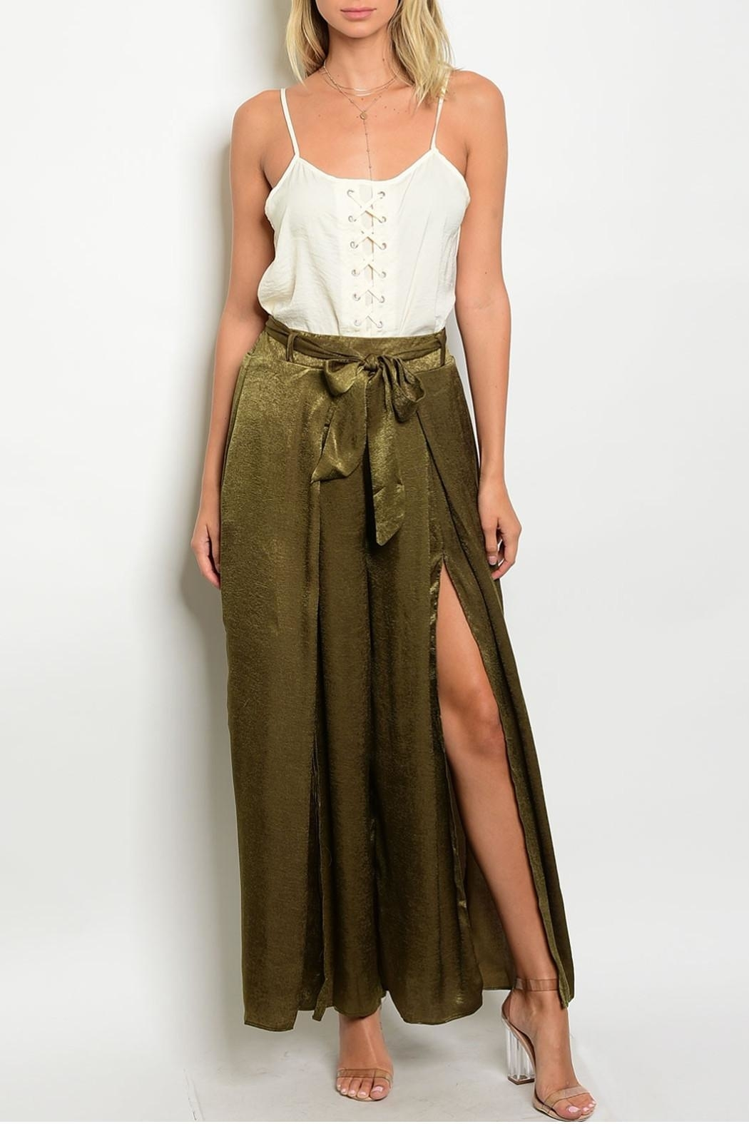in the Beginning Olive Satin Palazzo Pants - Front Cropped Image