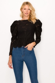 Ina Black Eyelet Top - Front cropped