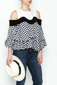 Shoptiques Product: Cold Shoulder Gingham Top