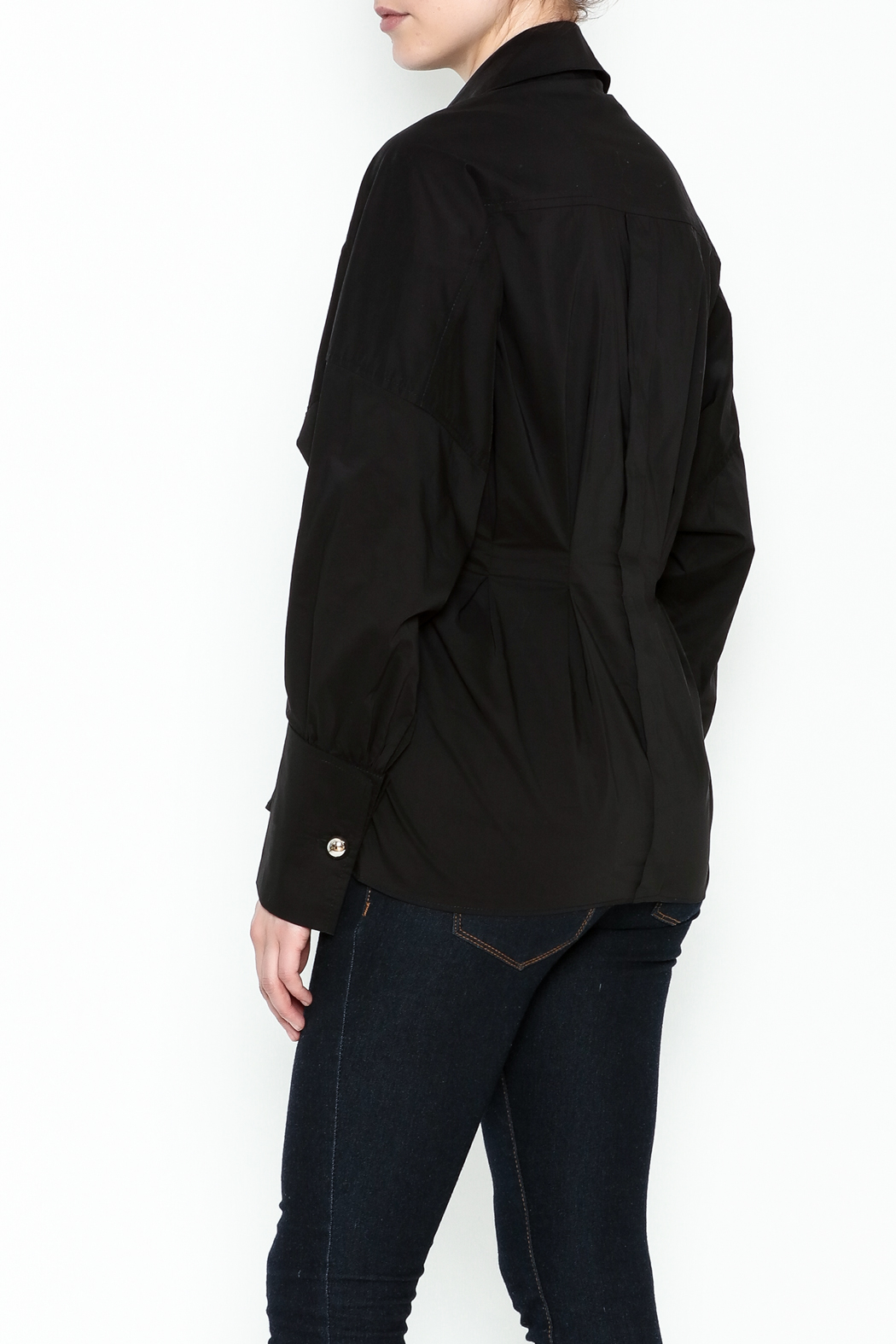 Ina Belted Ring Blouse - Back Cropped Image
