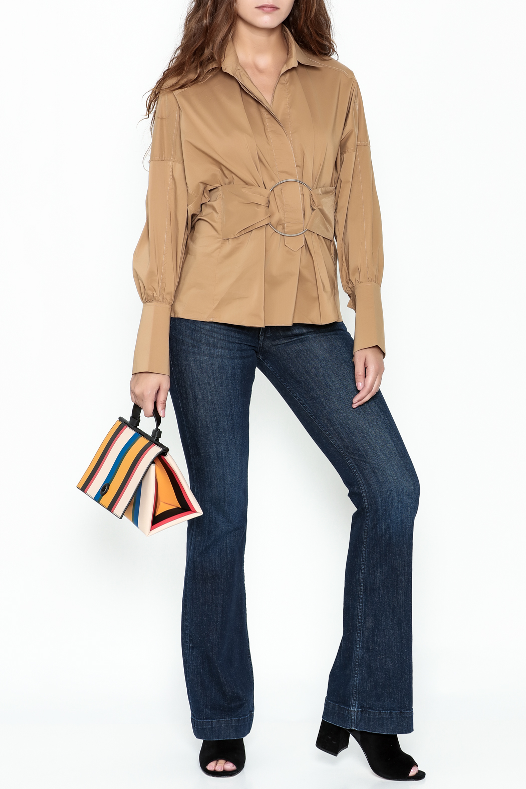Ina Belted Ring Blouse - Side Cropped Image
