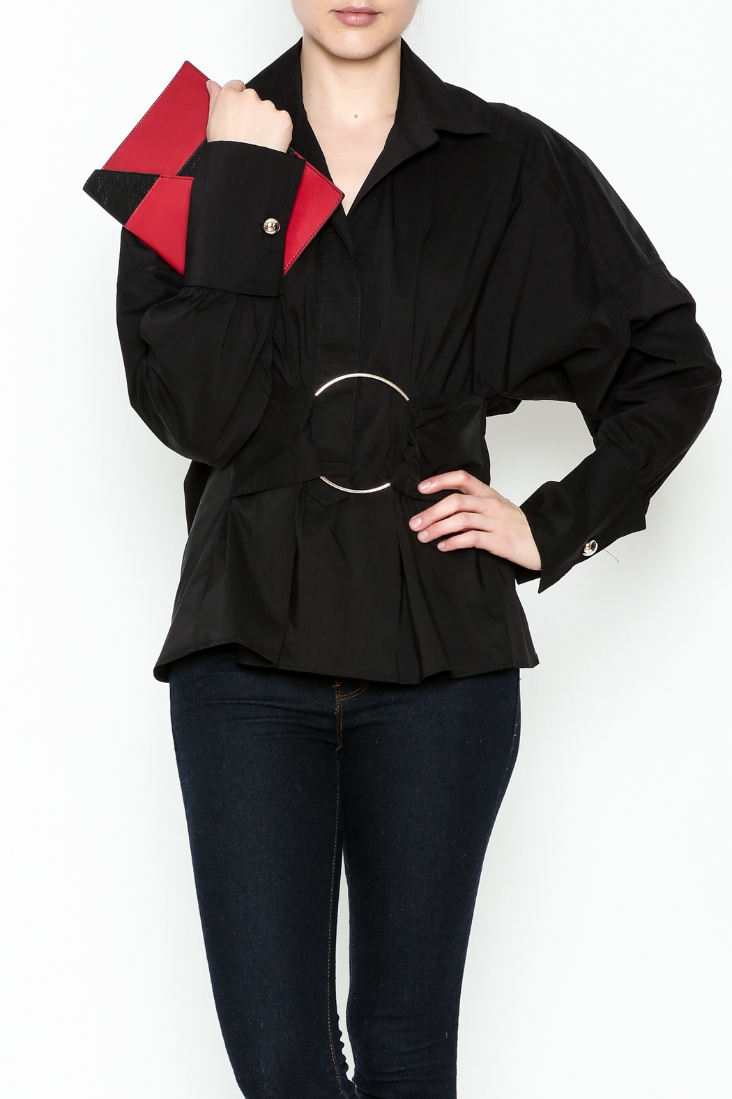 Ina Belted Ring Blouse - Front Cropped Image