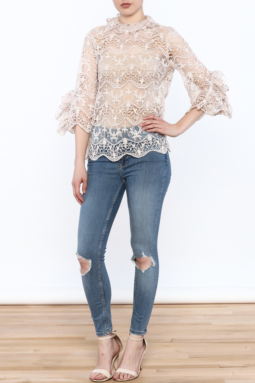 Ina Blush Lace Top - Side Cropped Image