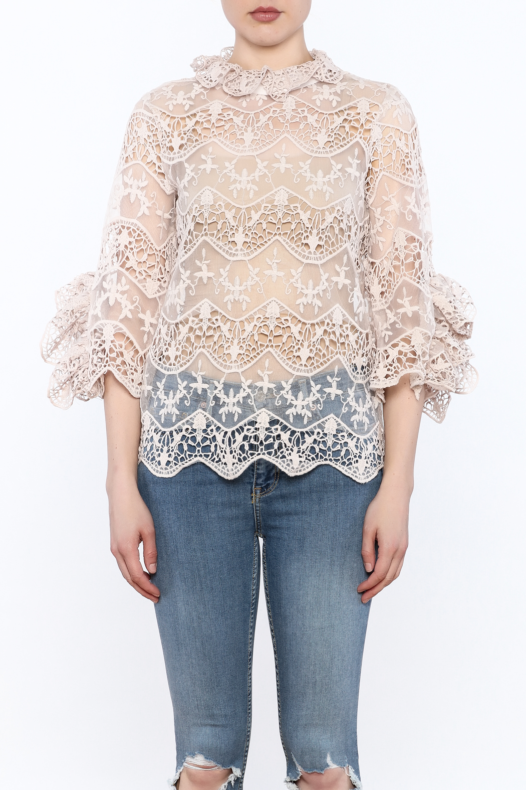 Ina Blush Lace Top - Front Full Image