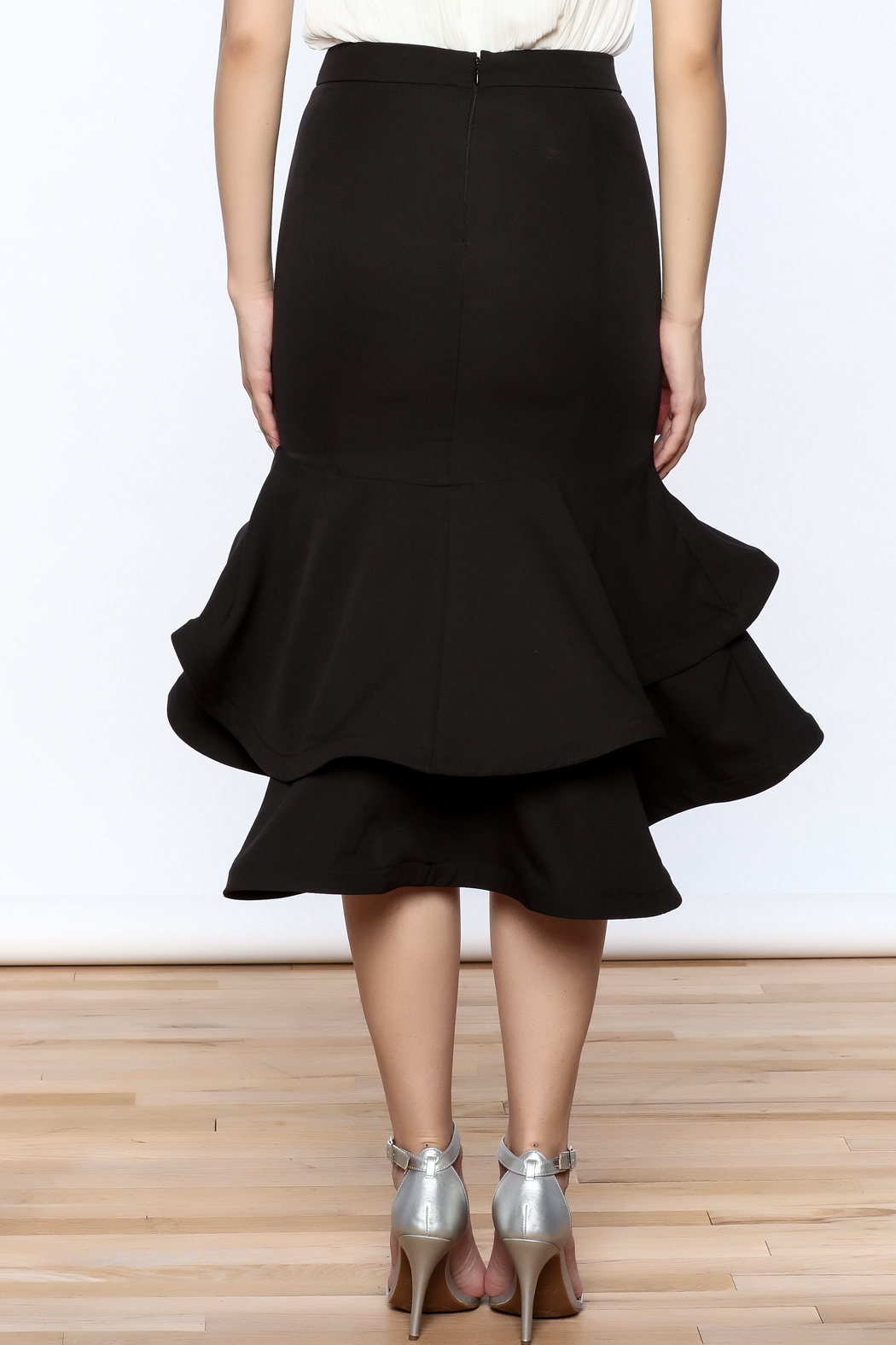 Ina Black Flounced Bodycon Skirt - Back Cropped Image