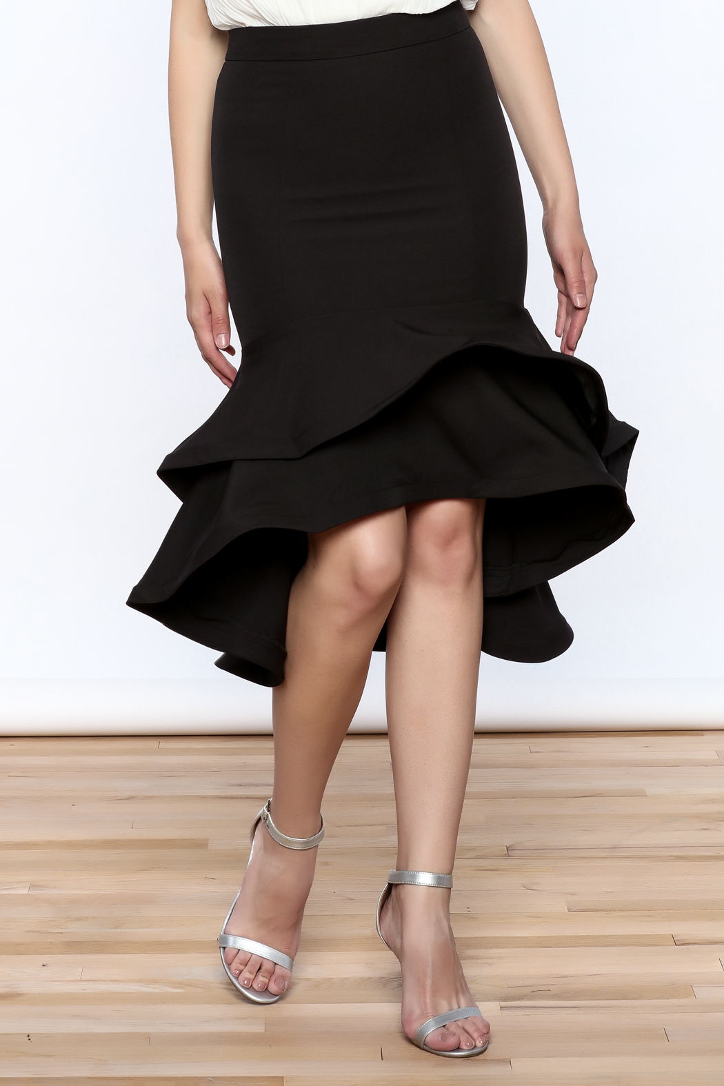Ina Black Flounced Bodycon Skirt - Front Cropped Image