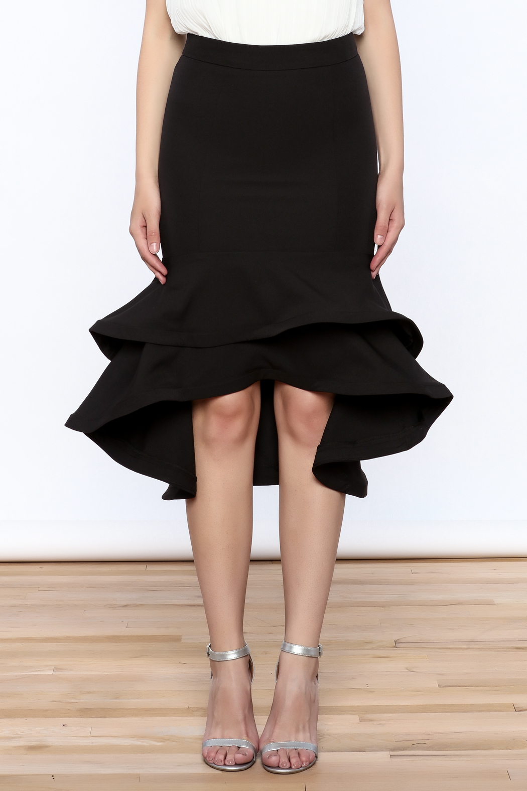 Ina Black Flounced Bodycon Skirt - Side Cropped Image