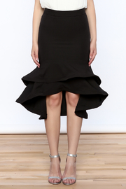 Ina Black Flounced Bodycon Skirt - Side cropped