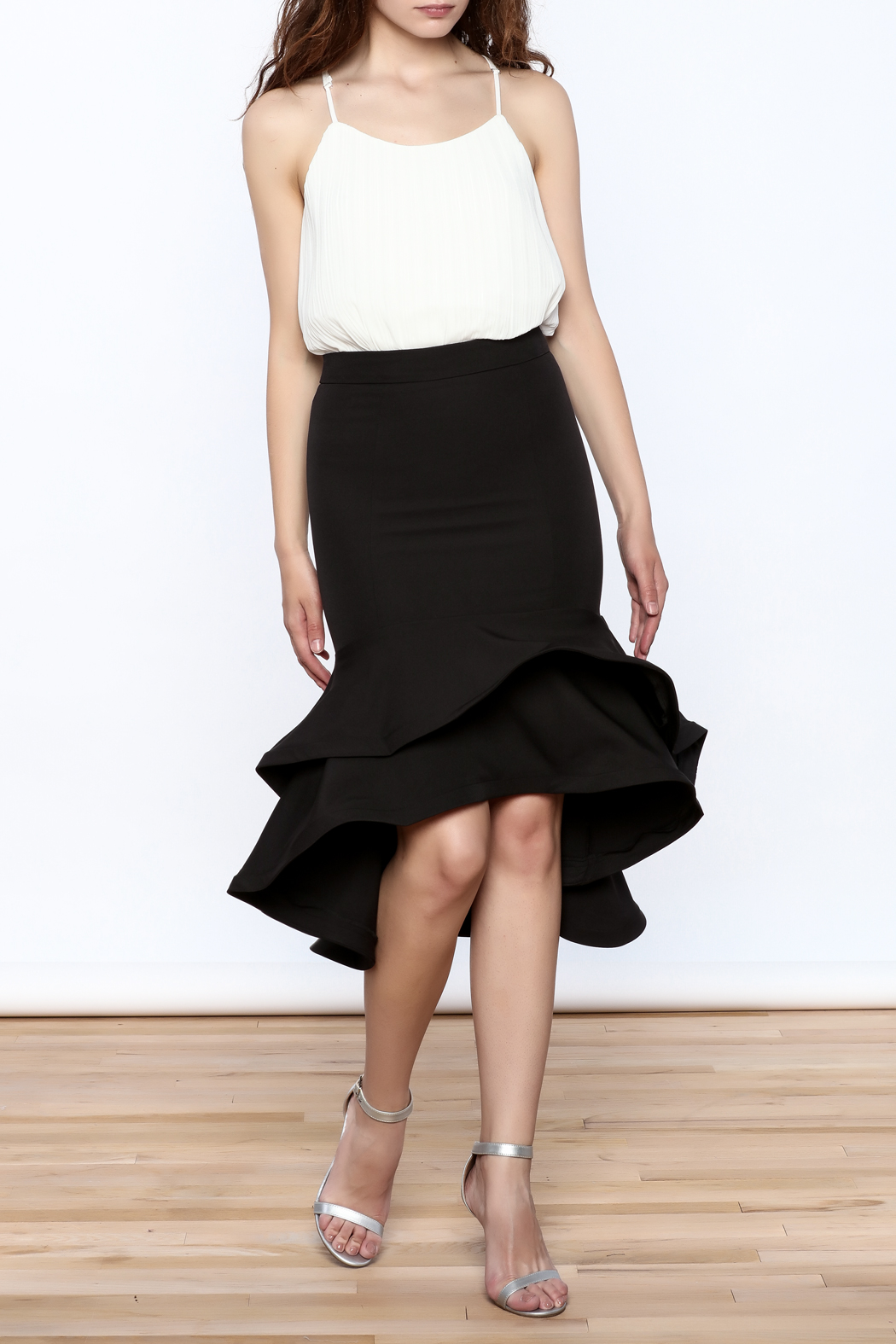 Ina Black Flounced Bodycon Skirt - Front Full Image