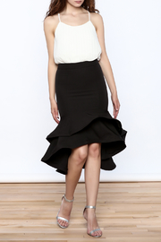 Ina Black Flounced Bodycon Skirt - Front full body