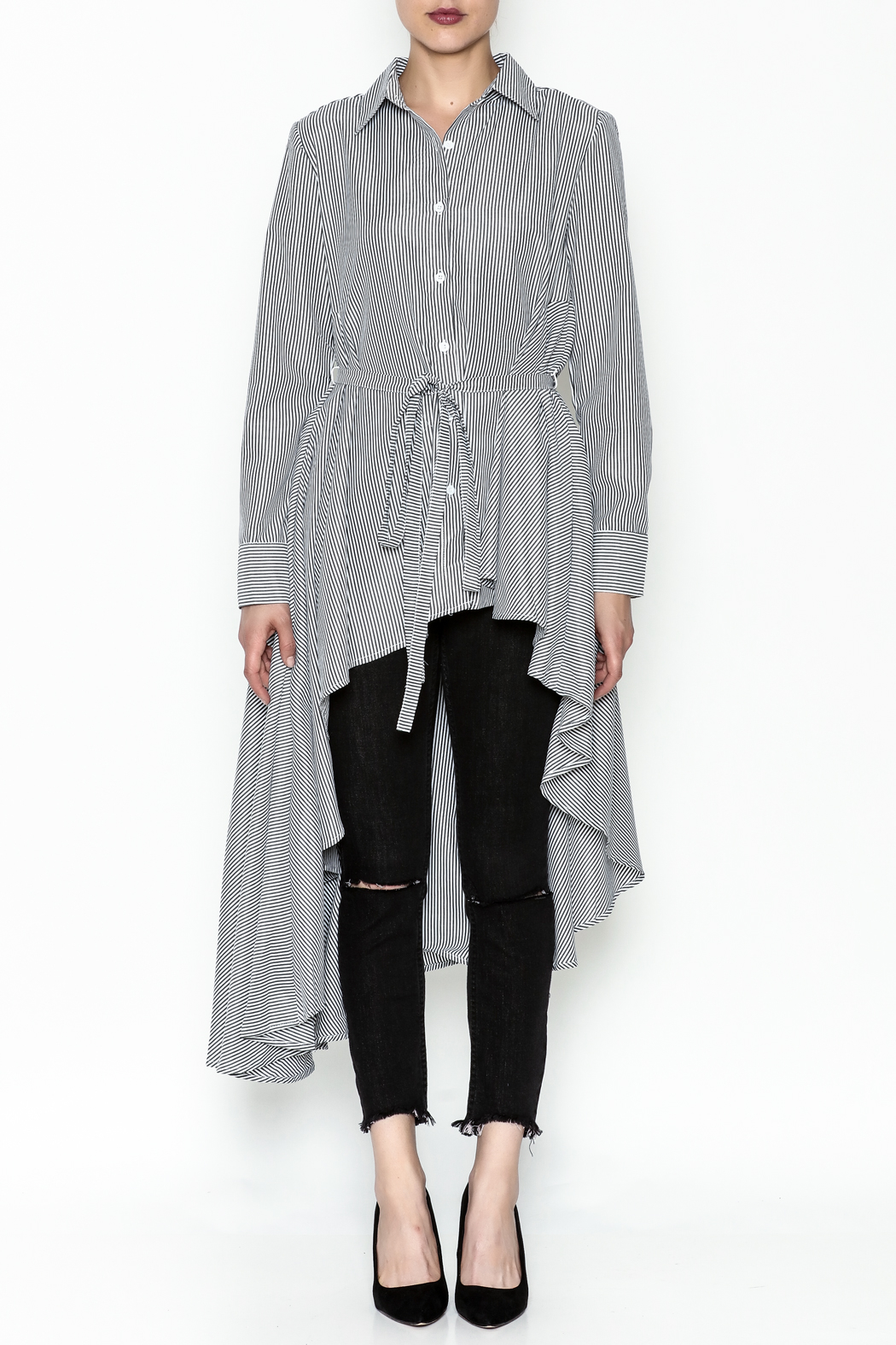 Ina High Low Shirt Dress - Front Full Image