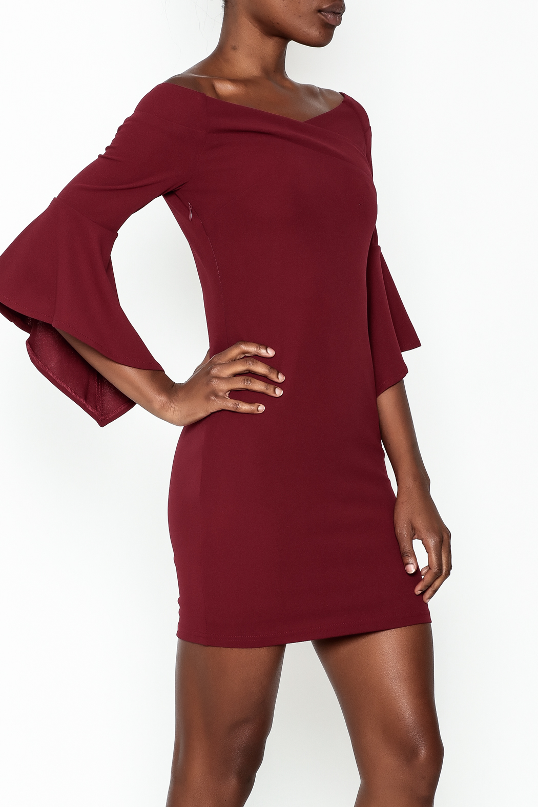 Ina Off Shoulder Statement Dress - Front Cropped Image