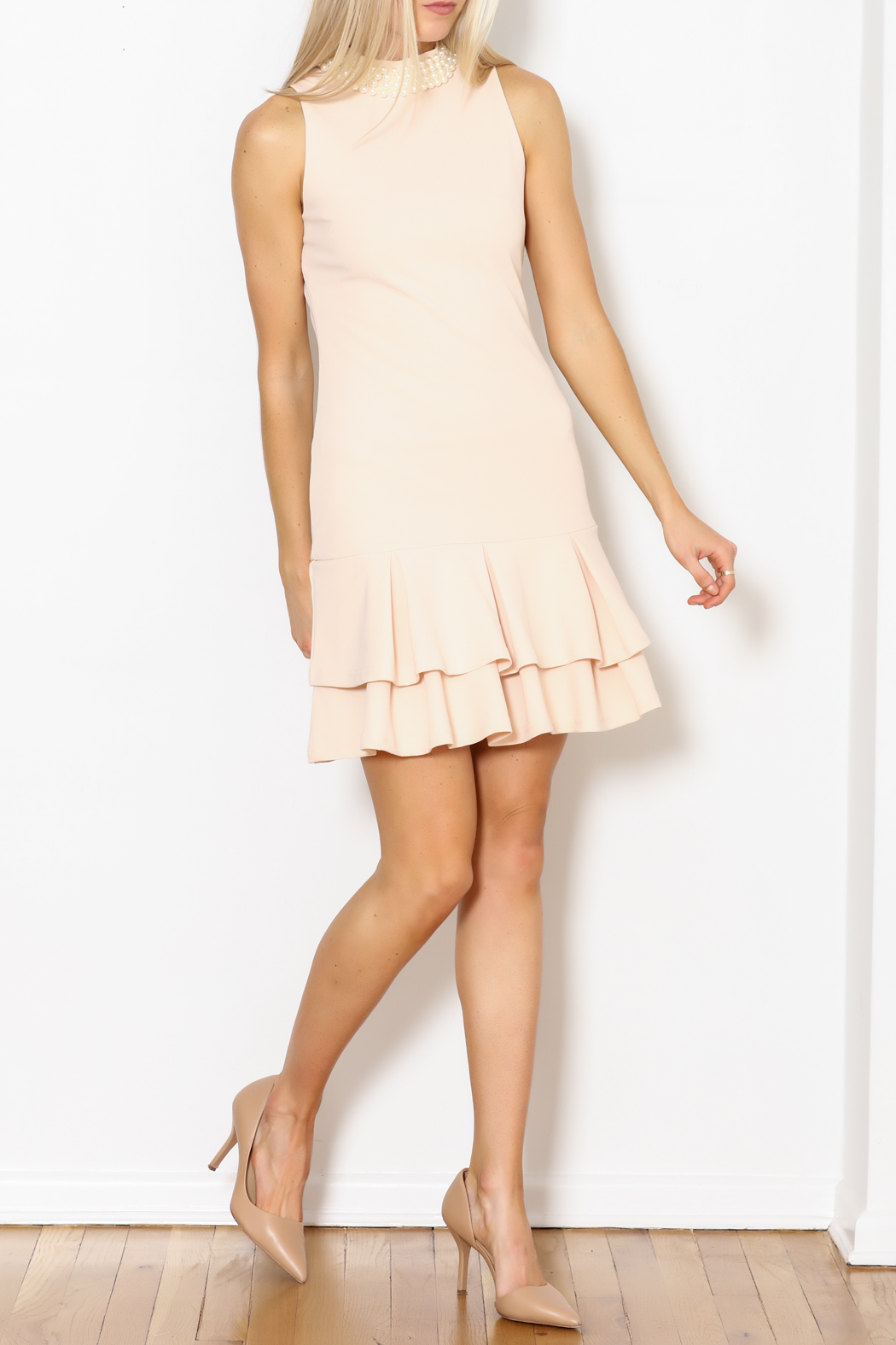 Ina Pearl Collar Dress - Side Cropped Image