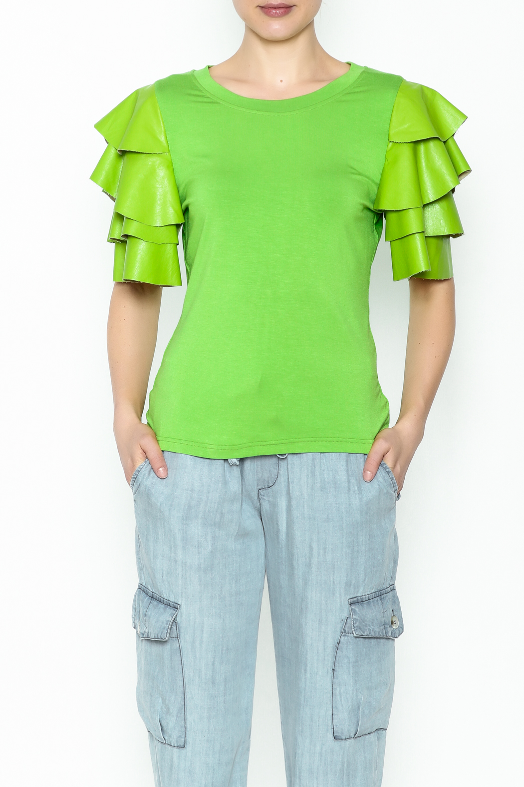 Ina Ruffle Sleeve Tee - Front Cropped Image