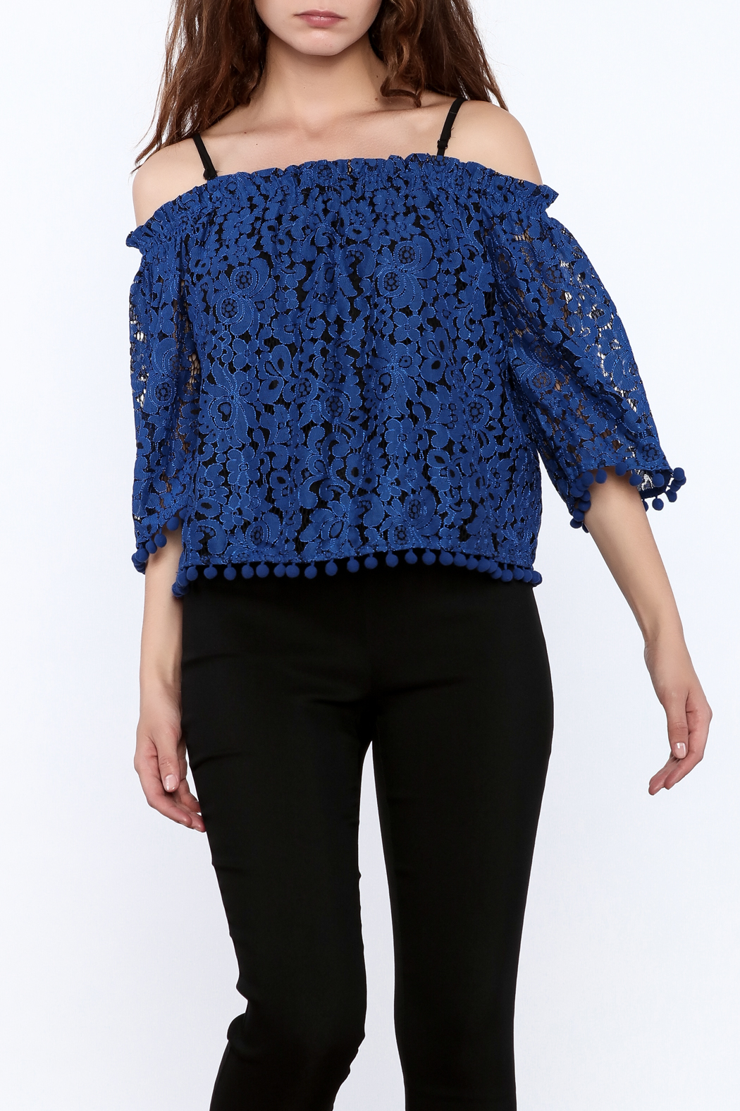 Ina Royal Blue Lace Top - Front Cropped Image