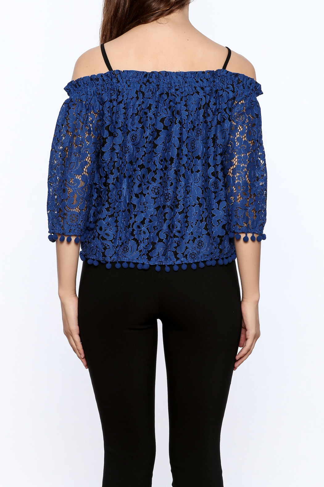 Ina Royal Blue Lace Top - Back Cropped Image