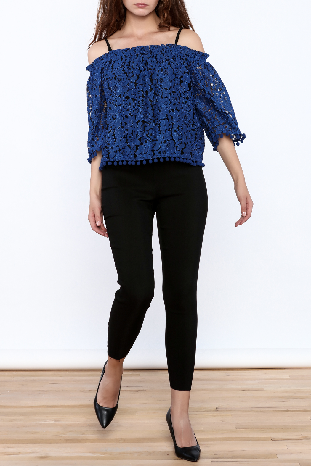 Ina Royal Blue Lace Top - Front Full Image