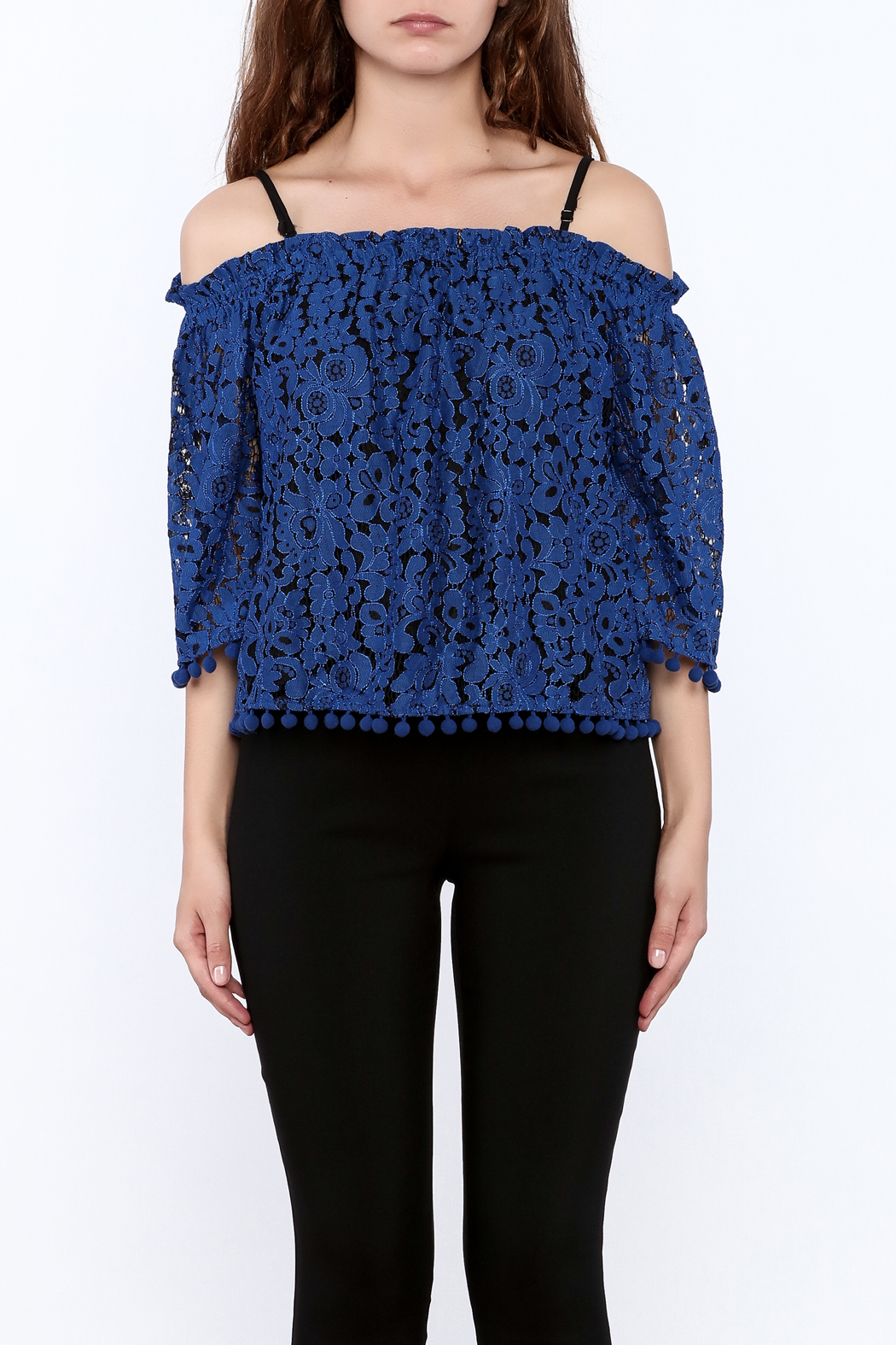 Ina Royal Blue Lace Top - Side Cropped Image