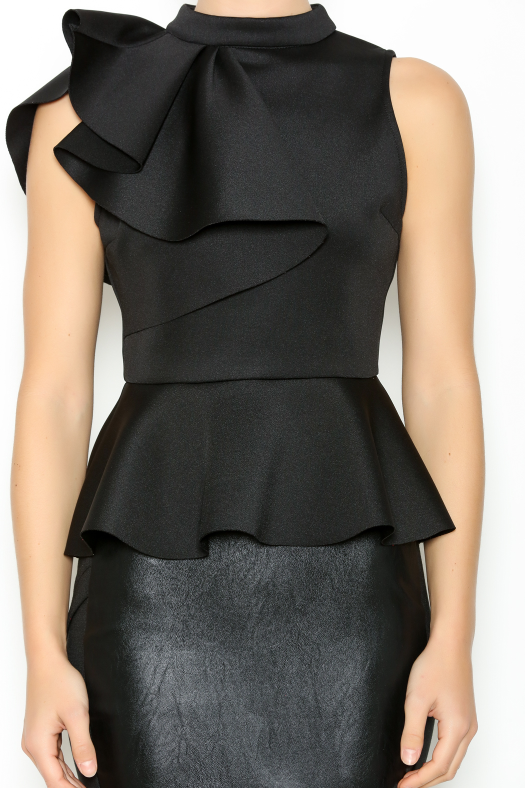 Ina side ruffle peplum top from west village by pink for Boutique tops